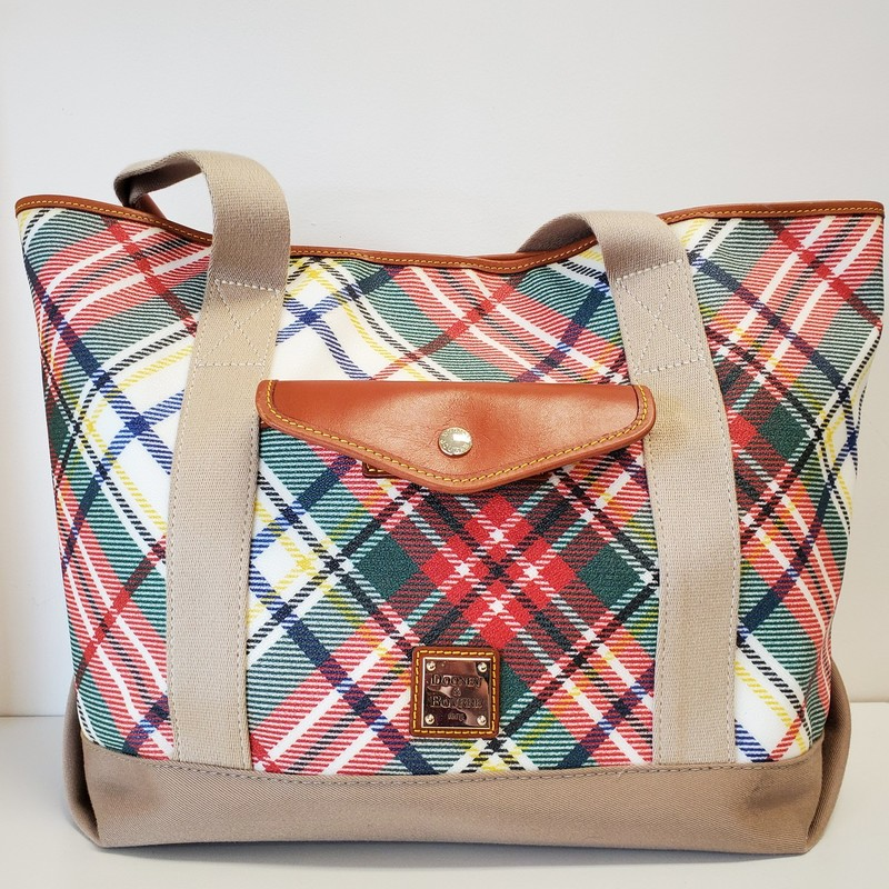 Dooney & Bourke Tote<br /> Red and Green Plaid<br /> Three snap closure