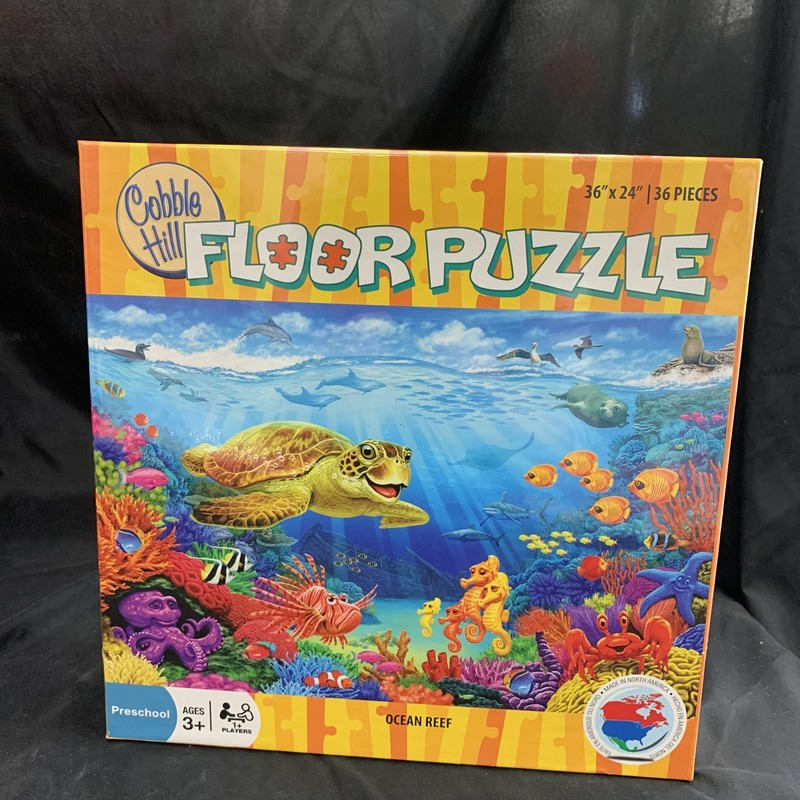 "Ocean Reef Puzzle, Floor Puzzle<br /> Ages 3+<br /> 36 pieces<br /> 36"" x 24""<br /> <br /> Cobble Hill used environmetally friendly inks and 100% recycled fibers.  Puzzle pieces are durable and thick, so the puzzles can be assembled over and over again!"