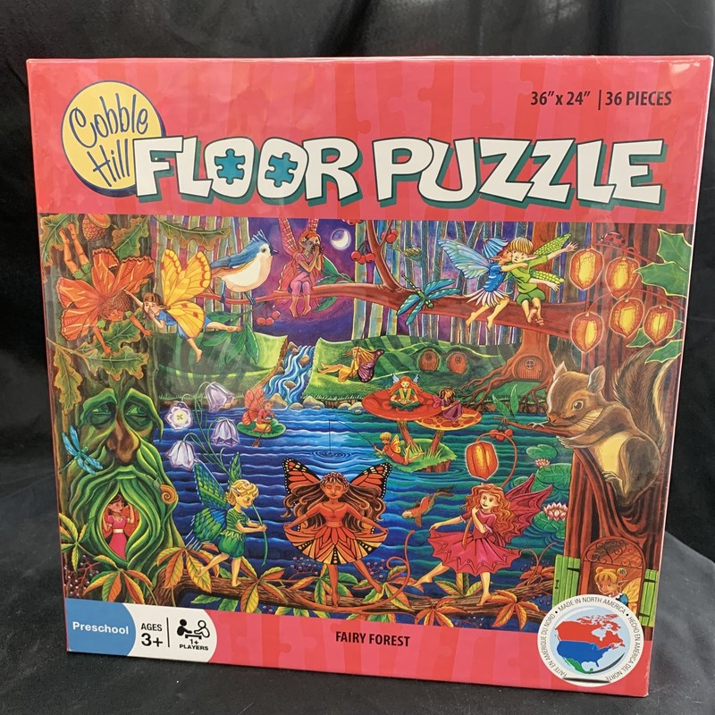 "Fairy Forest Puzzle, Floor Puzzle<br /> Ages 3+<br /> 36 pieces<br /> 36"" x 24""<br /> <br /> Cobble Hill used environmetally friendly inks and 100% recycled fibers.  Puzzle pieces are durable and thick, so the puzzles can be assembled over and over again!"