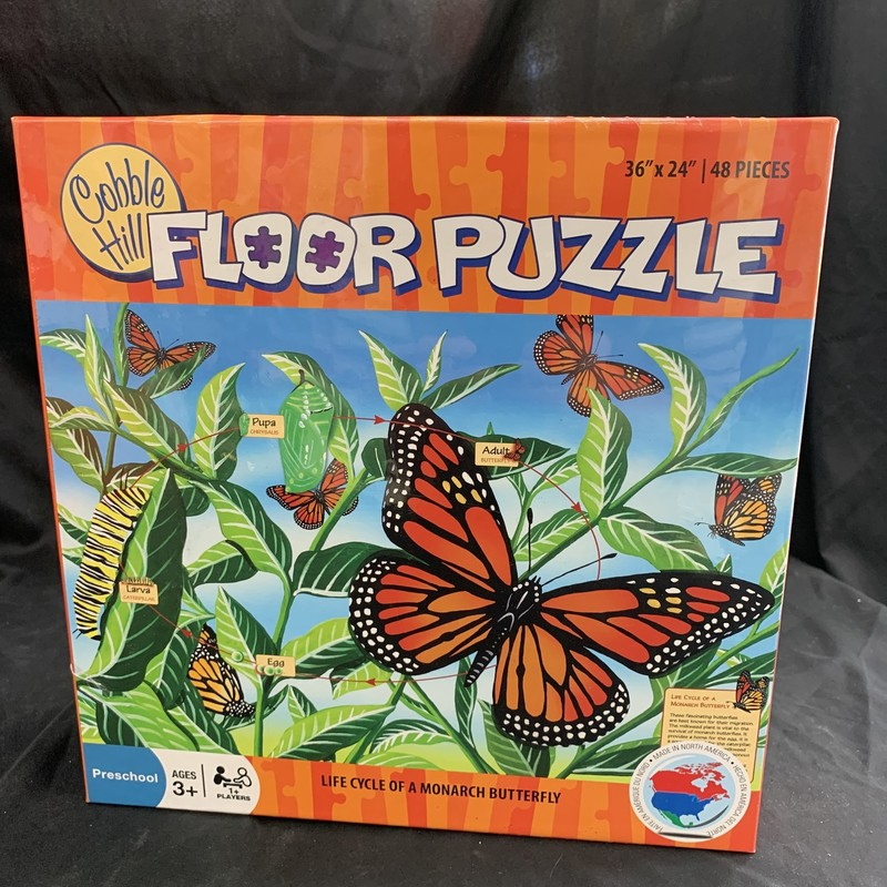"LifeCycle MonarchButterfly, Floor: Puzzle<br /> Ages 3+<br /> 48 pieces<br /> 36"" x 24""<br /> <br /> Cobble Hill used environmetally friendly inks and 100% recycled fibers.  Puzzle pieces are durable and thick, so the puzzles can be assembled over and over again!"