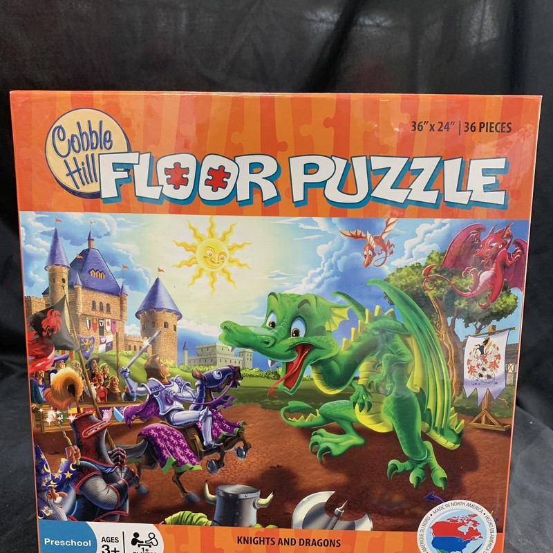 "Knights And Dragons, Floor Puzzle<br /> Ages 3+<br /> 36 pieces<br /> 36"" x 24""<br /> <br /> Cobble Hill used environmetally friendly inks and 100% recycled fibers.  Puzzle pieces are durable and thick, so the puzzles can be assembled over and over again!"