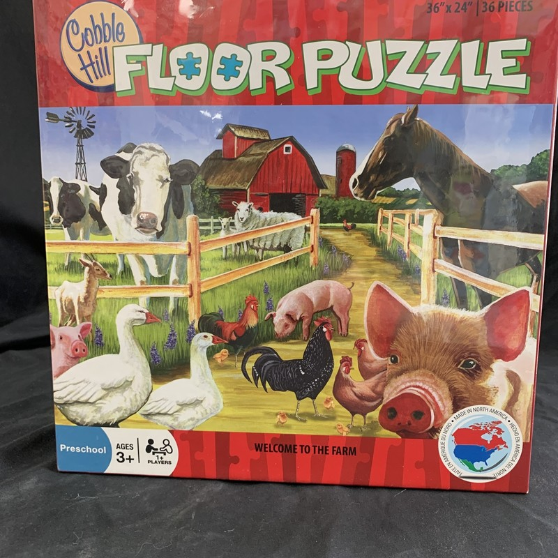 "Welcome To The Farm Puzzl, Floor Puzzle<br /> Ages 3+<br /> 36 pieces<br /> 36"" x 24""<br /> <br /> Cobble Hill used environmetally friendly inks and 100% recycled fibers.  Puzzle pieces are durable and thick, so the puzzles can be assembled over and over again!"