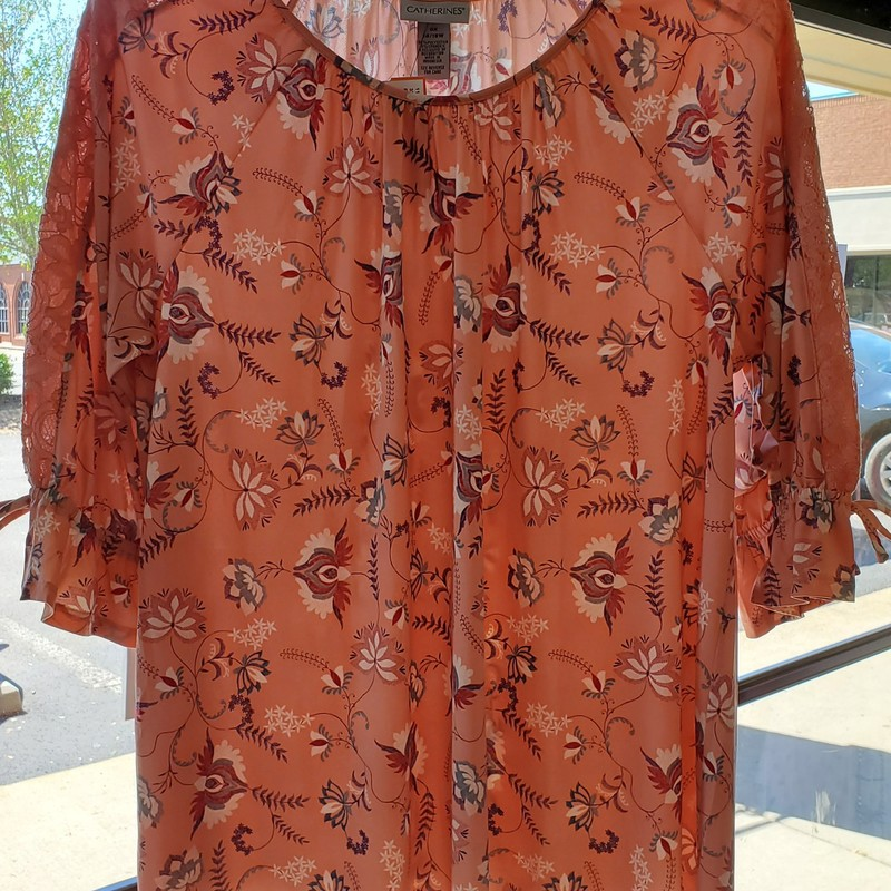 "Catherines NWT<br /> Peach Floral<br /> 3/4"" ruffled sleeve<br /> 14/16W<br /> Retail $54.95"