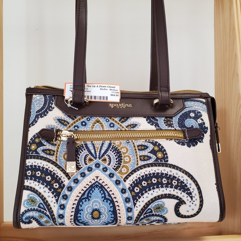 Spartina<br /> Rich Blue Paisley Print<br /> Moss Green interior<br /> Like New Condition