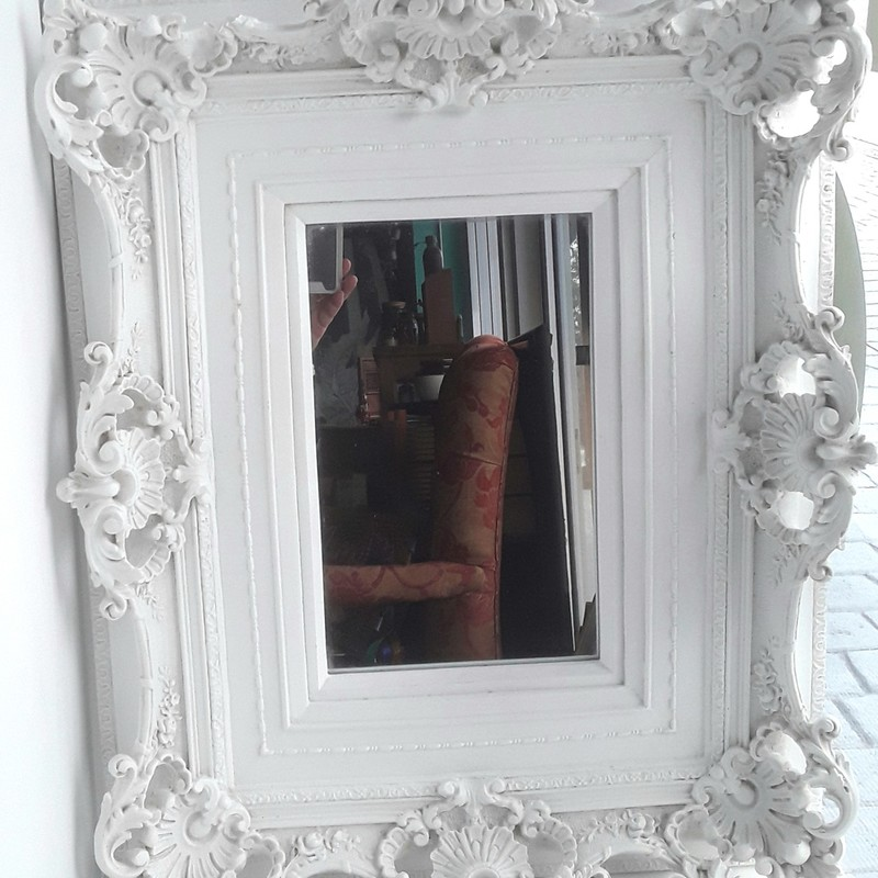 "Fabulous ornate plaster framed mirror! Professionally framed for hanging vertically or horizontally.<br /> Sleeping Beauty Worthy!<br /> Frame measures 18"" x 22"" Mirror is 7"" x 11"" Available for store pick-up only"