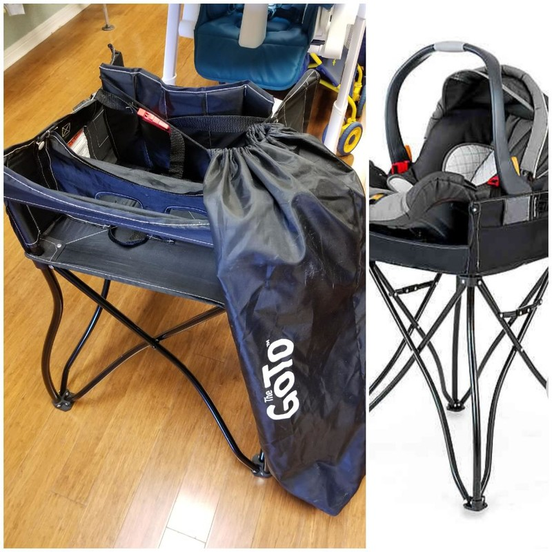 Phoenix 2-in-1 Go To Travel High Chair<br /> Solid black color.<br /> Travel storage bag included.<br /> Stock photo on right, NO CARSEAT INCL.<br /> Child age/weight up to 3yrs/max 40lbs.<br />  Retail $60.<br /> * NO SHIPPING, IN-STORE PICKUP ONLY.<br /> ** WE OFFER FULL CURBSIDE SERVICE.