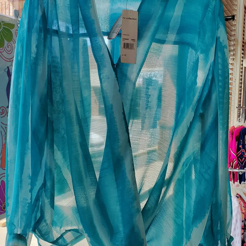 NY Collection NWT, Teal/white, Size: 2X
