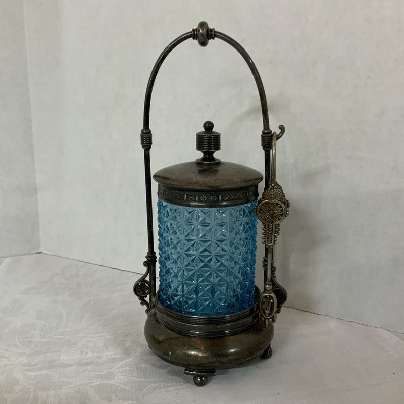 "Antique Blue Glass Pickle Castor Complete with Tongs ca. 1900<br /> This is excellent condition<br /> Please see the photos for details<br /> 10"" Height<br /> 4"" Width<br /> Weight 2lb 1 oz"