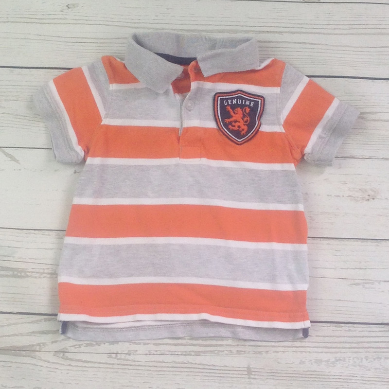Grey Orange Stripe Polo.