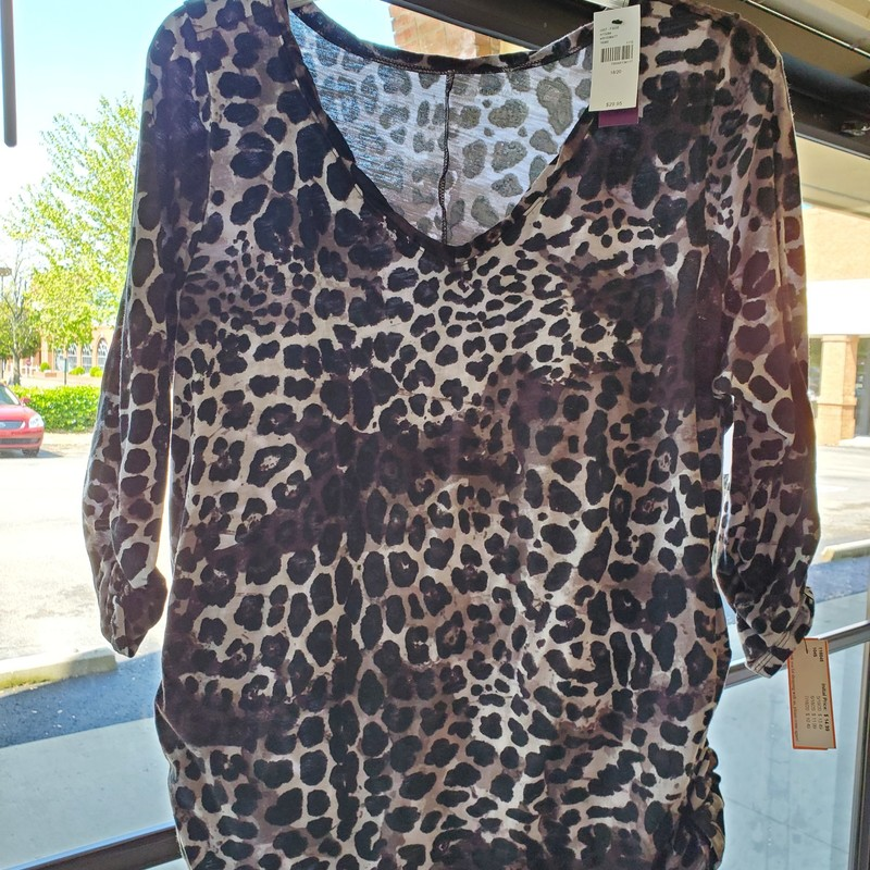 Lane Bryant NWT<br /> Purple, black and gray animal print<br /> 18/20<br /> Ruched sleeve and hem<br /> Retail $29.95