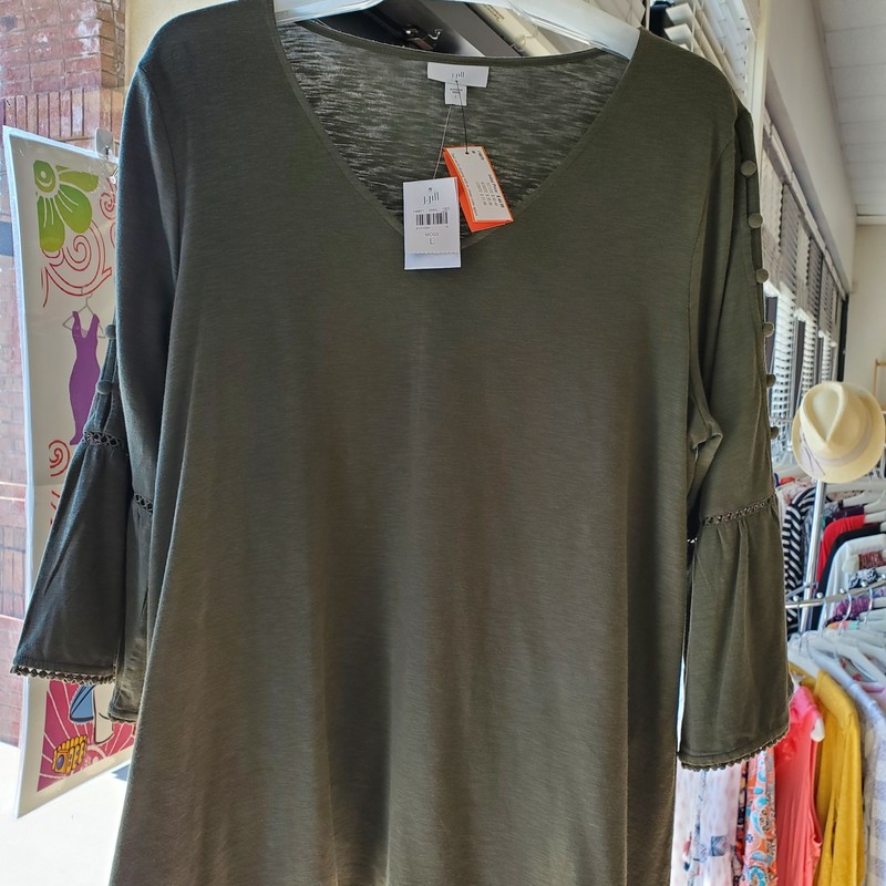 "J Jill Top<br /> Moss Green<br /> Size L<br /> 3/4"" Bell Sleeve with open button detail<br /> NWT"