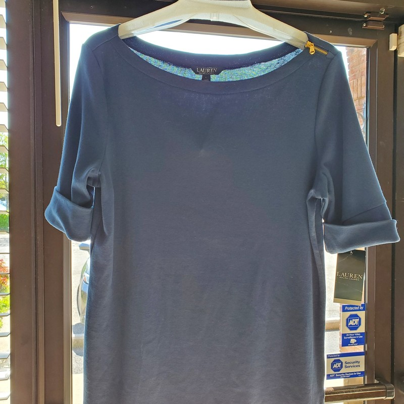 Lauren NWT<br /> Slate Blue<br /> Size L<br /> Short sleeve with one sided zipper shoulder<br /> Retail $49.50