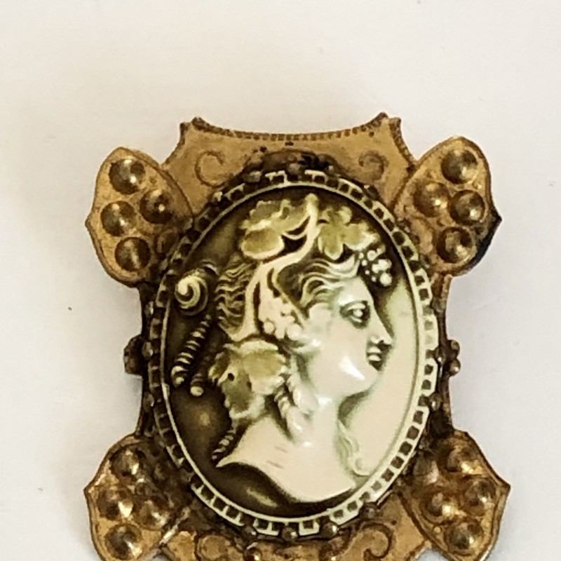 "Art Nouveau Celluloid high-relief Cameo metal border. c-clasp closure. 2"" H X 1.75\"" W."