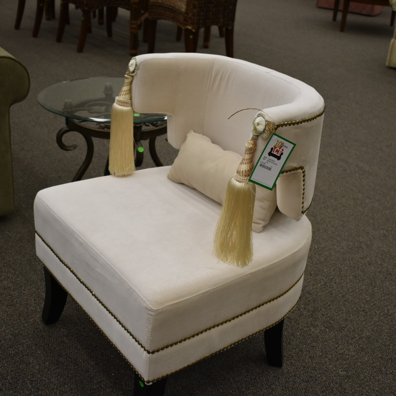 White Accent Chair w/ tassles