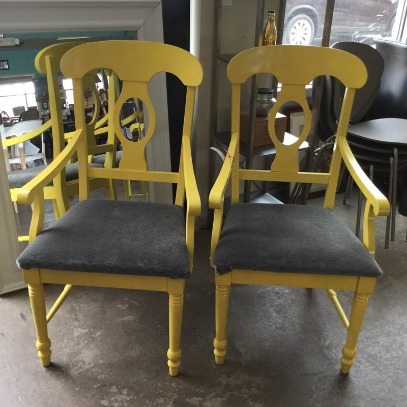 Broyhill Captain Chairs, Yellow, Set Of 2