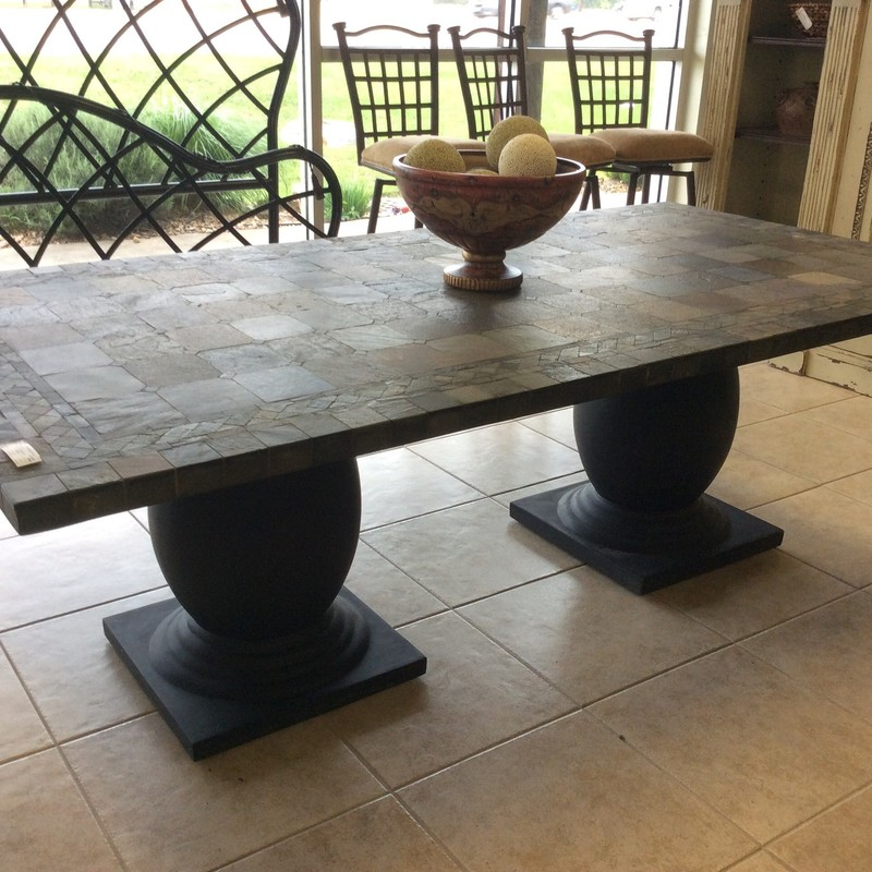 Wow, this table is gorgeous! The consignor used it outside on a covered patio, but it would be lovely as an inside dining table, as well. The base is a double pedestal style. The top features a landscape of different sized slate tiles, mounted on a slab of wood.