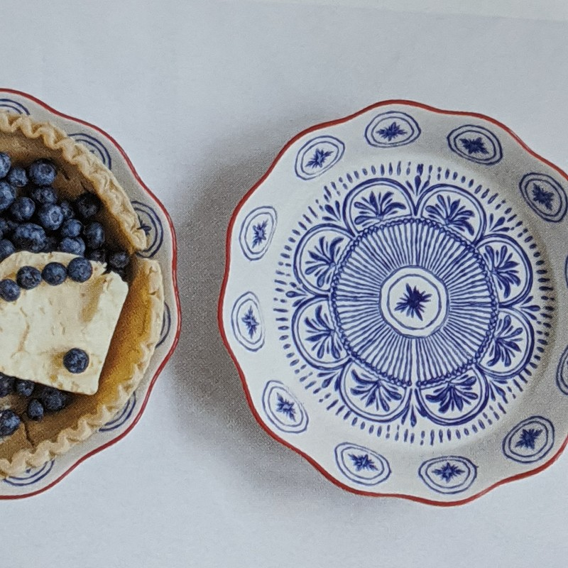 10in round x 2in high hand stamped stoneware pie dish, blue and red.<br /> Featured at Be Kind Creative Designs