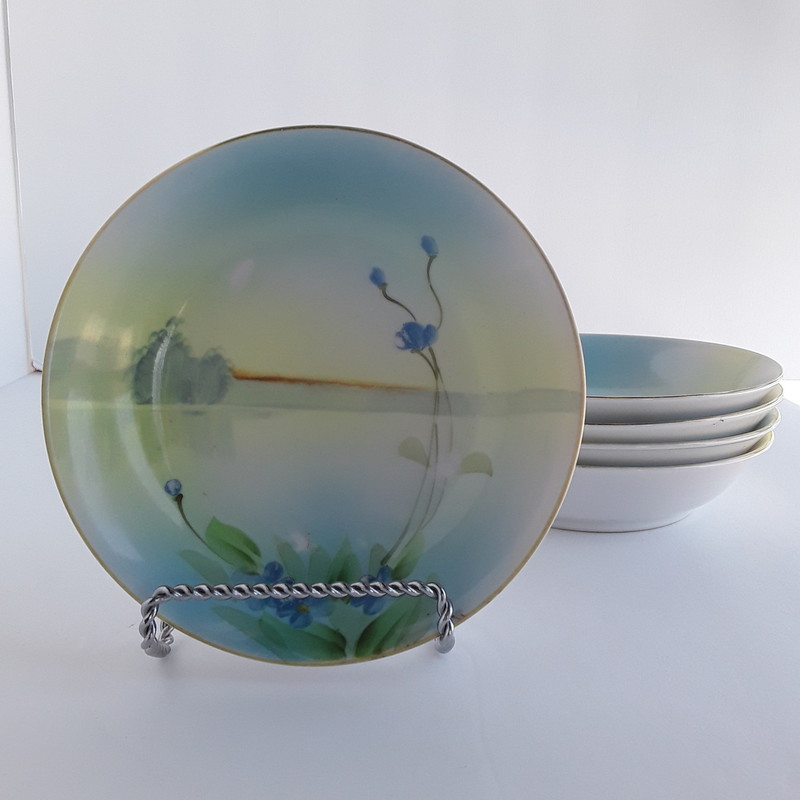 Set Of 5 Nippon Handpainted China. Serene blue/green handpainted scene. Delicate and fine.