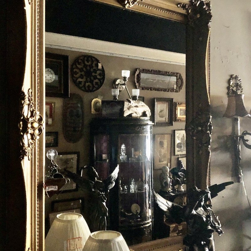Gesso Framed Mirror, c. 1800s. Gold with minimal damage to gesso. Very large & heavy! Available for in-store pickup only.