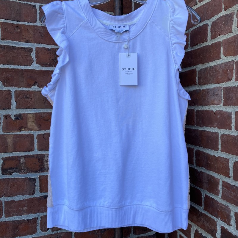 Studio By David Lerner NY, White, Size: M/L<br /> Ruffle cotton tank with velvet sides