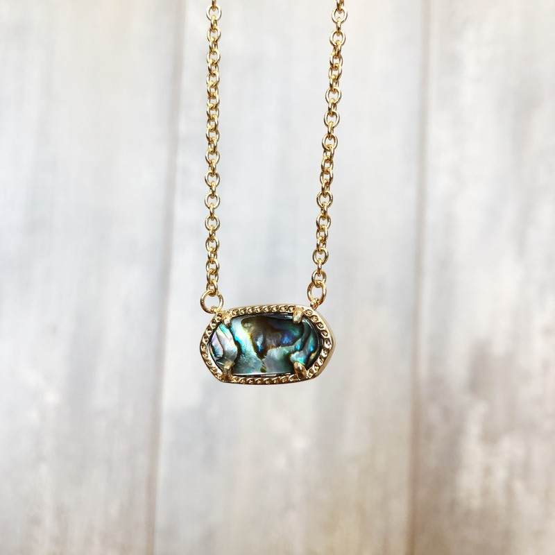 druzy abalone short - gold chain