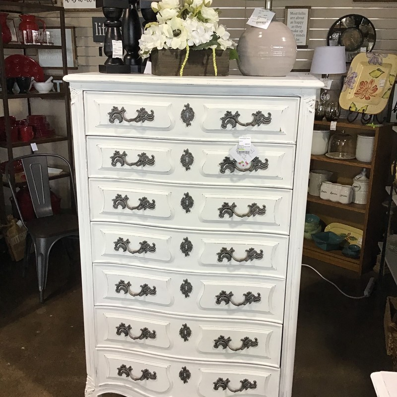 "This tall dresser was painted in-house using Country Chic's Simplicity (white) paint, distressed and clear waxed. The handles were updated with a deep charcoal spray paint. There are 7 large drawers and the piece is extremely well-made. The drawers are all dovetailed and the piece is solid wood. Great updated piece for any bedroom!<br /> Dimensions are 34"" x 19-1/2"" x 56-1/2"""