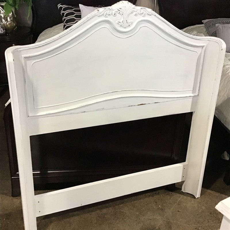 "This beautiful ""wrap-around"" white twin headboard was updated in-house with Country Chic's Simplicity (white) paint, distressed and clear waxed for protection. The piece has some beautiful carvings in it and the distressing really brings out the character. We have a matching piece in stock, in case you require 2. This piece was manufactured by Drexel Heritage and includes a metal frame.<br /> Headboard dimensions are 43"" x 47-1/2"""