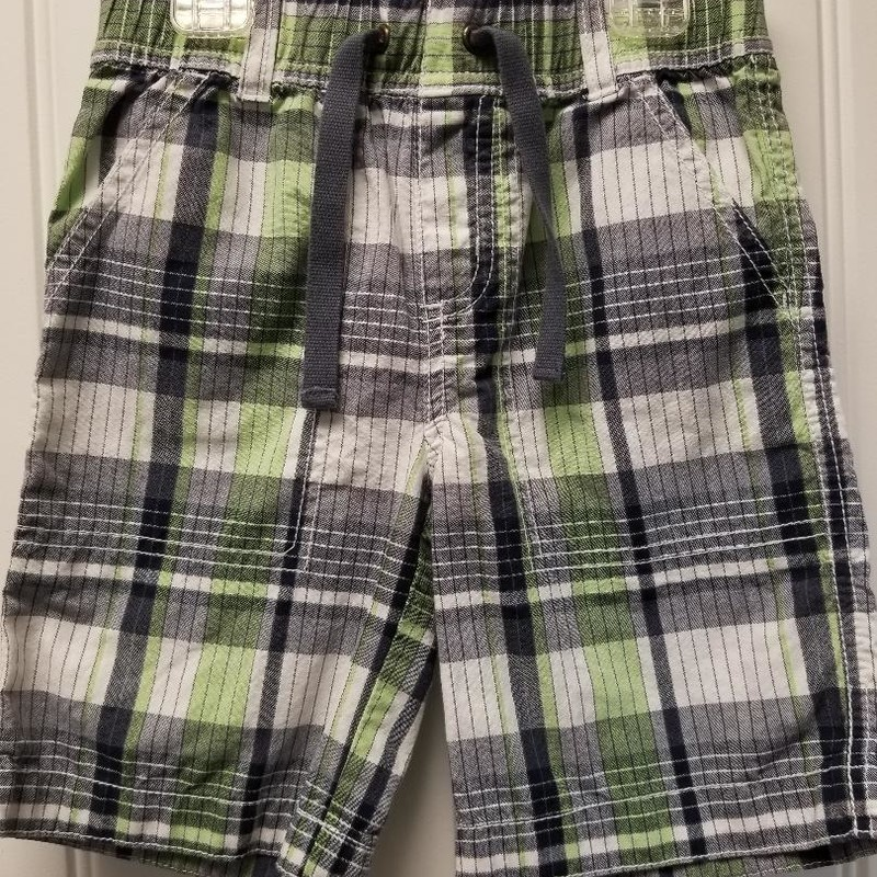 Gymboree Plaid Shorts, Size: 3T<br /> Green, gray, charcoal, white<br /> Full elastic waist<br /> Four pockets