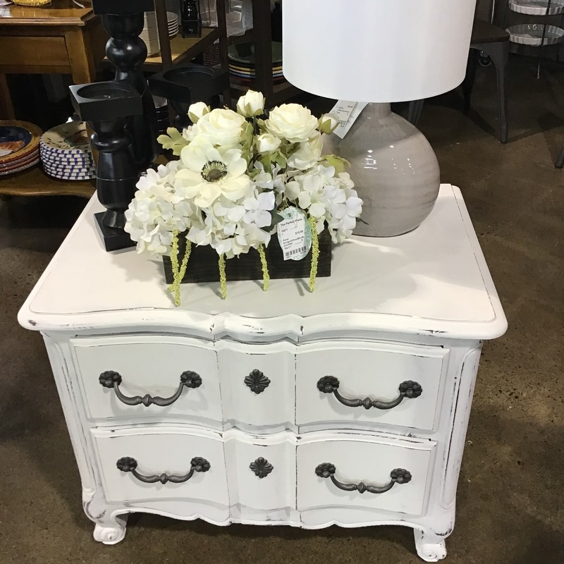 "This pretty 2 drawer nightstand by Henredon has been updated in-house using Country Chic's Simplicity (white) paint, distressed and clear waxed for protection. It has 2 large dovetailed drawers for plenty of storage. Great addition to any bedroom!<br /> Dimensions are 28"" x 18"" x 23"""