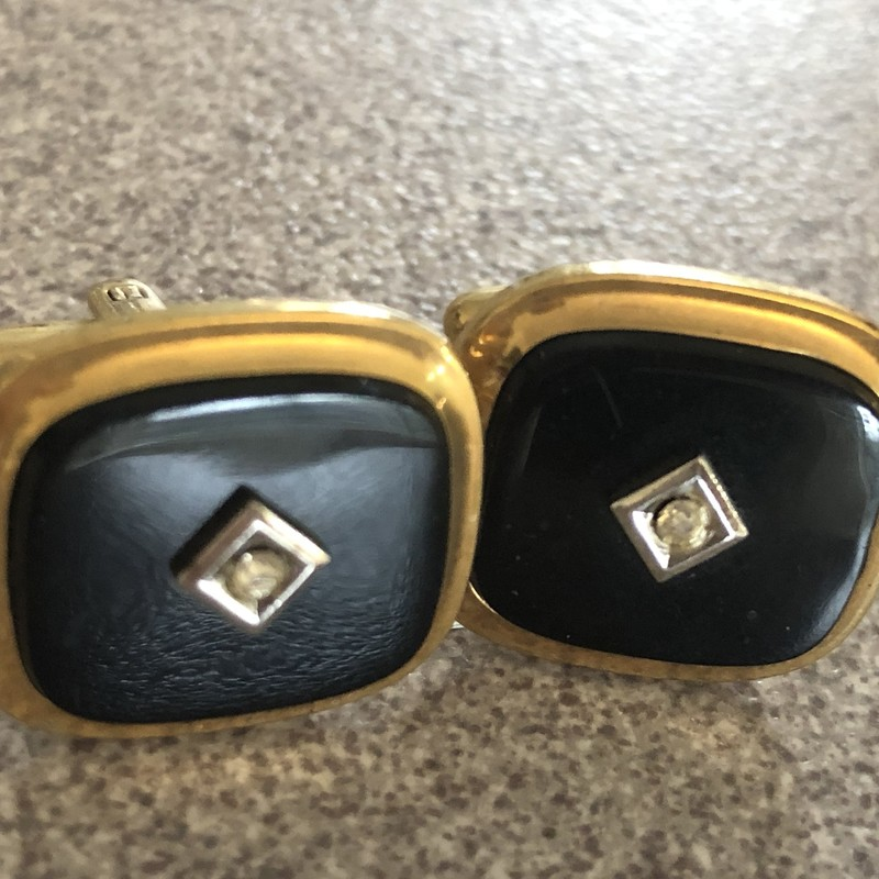 "Vintage Speidel USA c. 1960sgold tone and black with a clear rhinestone. Size: 3/4"" X  5/8"""