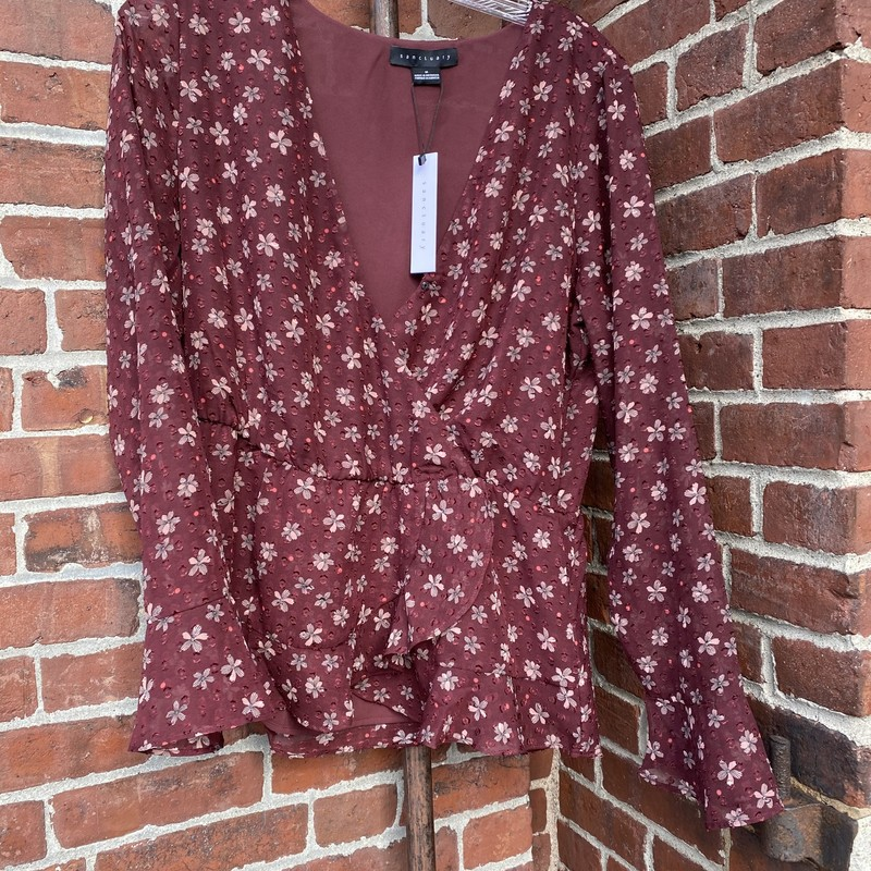 Sanctuary Blouse NWT, Burgundy, Size: Medium
