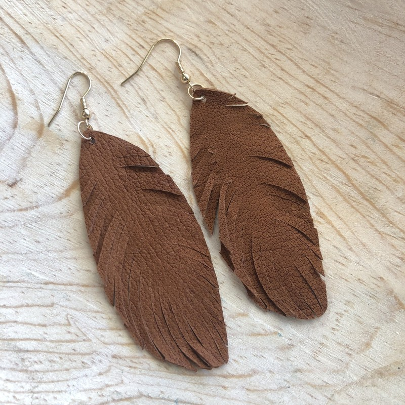 Fringe Feather Earrings