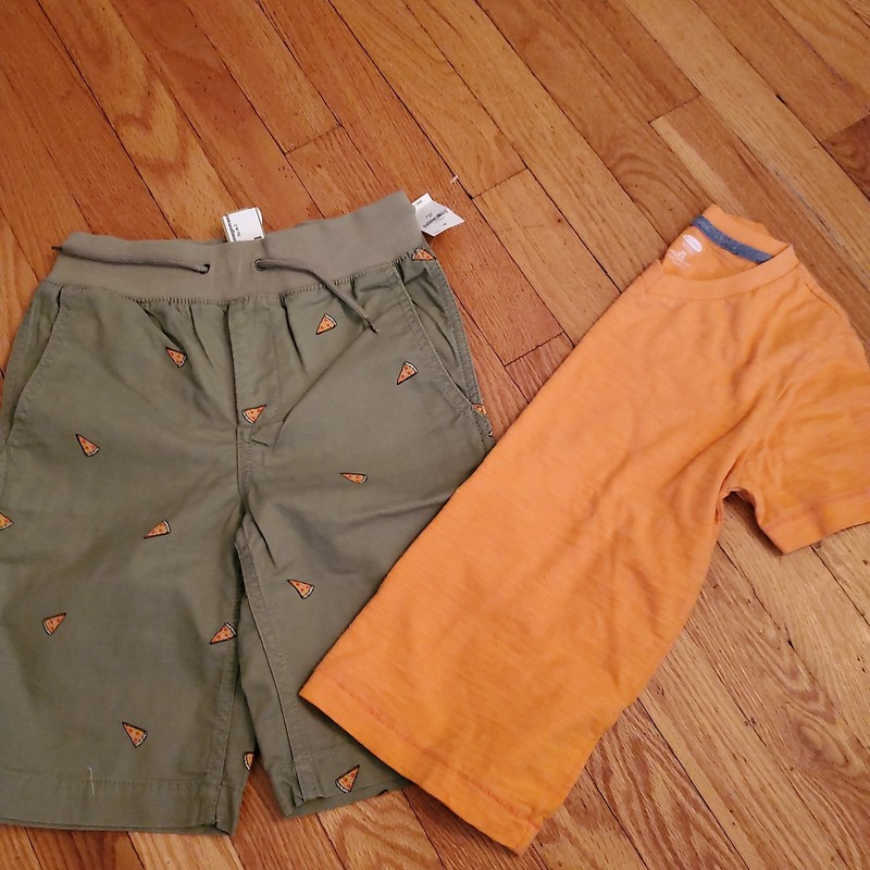 Gap Pizza Shorts NEW, Old Navy tee<br />  Size: 6-7