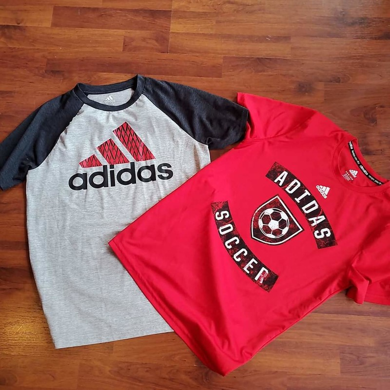 2 Adidas Tees Red soccer/grey, Size: 14-16
