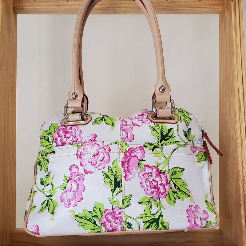 Tignanello purse<br /> White floral leather<br /> Multi pockets