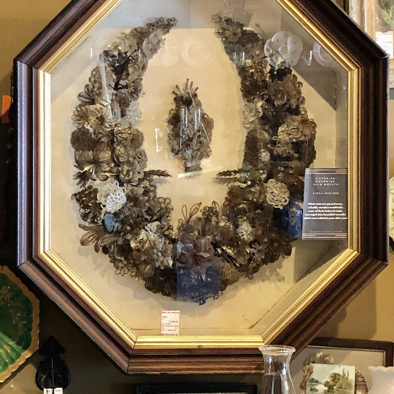 Mourning Hair Wreath. Large and museum quality in its original frame. Perfect for your Victorian decor. c.1880-1910.<br /> Available for in-store pickup only.