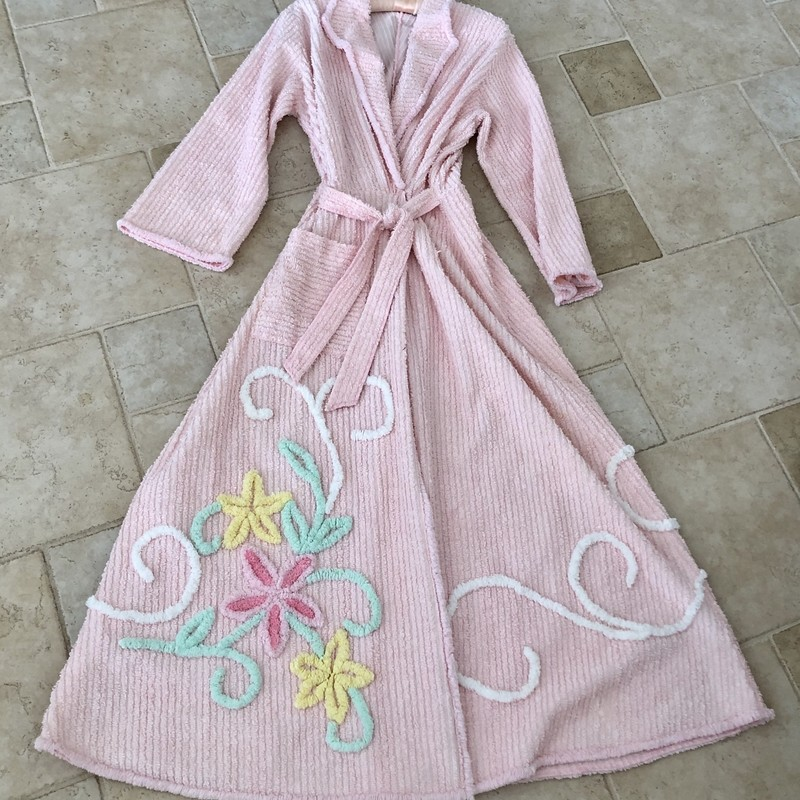 "Slipper Pink Plush Chenille Floral Robe by ""Once in a Blue Moon."" Size: One Size fits all."