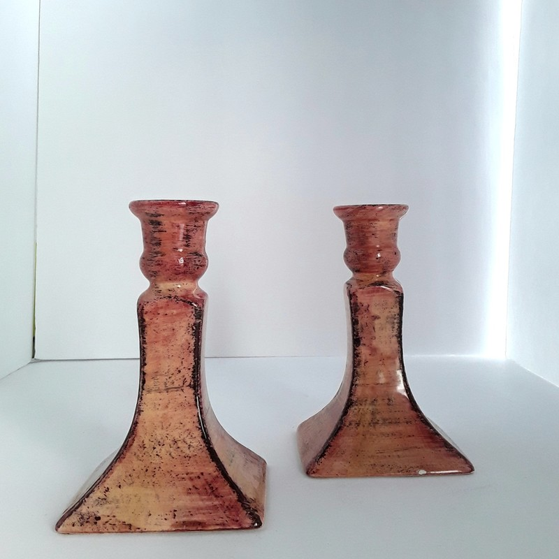 "Pair of Italian Candle Holders. Nice glazed finish. 6"" high"