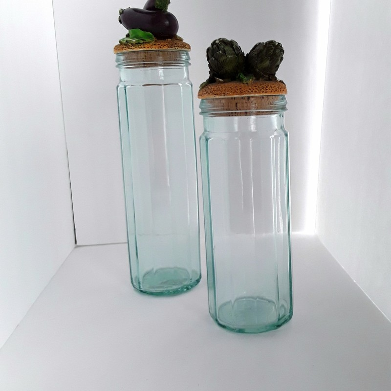 "Pair of pasta jars. Articoke and eggplant!<br /> <br /> Artichoke: 4x13""<br /> Eggplant: 4x15.25"""