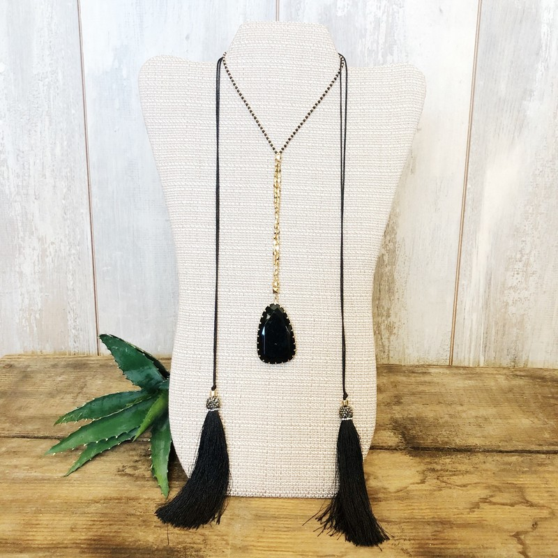 Long Gem Tassle Necklace - Black