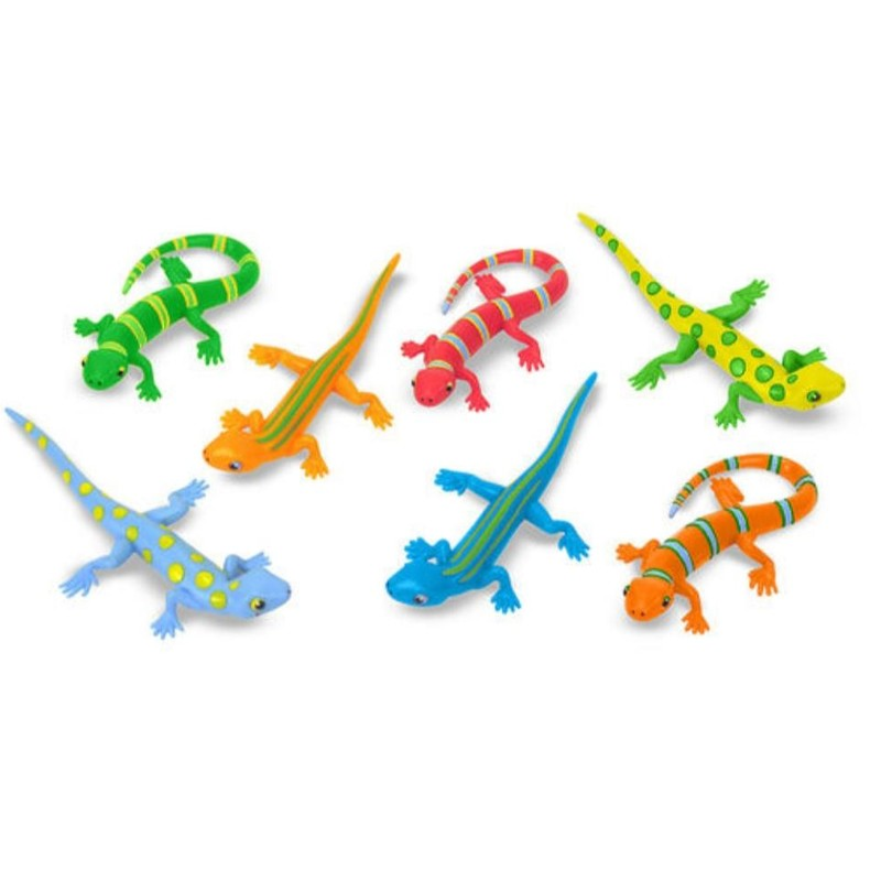 Melissa Doug Bag Litter of Lizards - brand new!<br /> Bag of 7 colorful lizards<br /> Bright colors and patterns make each lizard unique.<br /> Perfect for counting, sorting, hide-and-hunt and pretend-play activities.<br /> Sturdy plastic construction<br /> Encourages hand-eye coordination, color recognition and interest in the natural world.<br /> Ages 3+