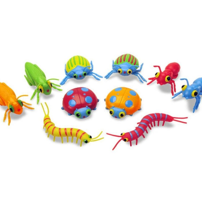 Melissa & Doug Bag Of Bugs, brand new!<br /> Bag of 10 colorful bugs<br /> Bright colors and patterns make each bug unique.<br /> Perfect for counting, sorting, hide-and-hunt and pretend-play activities.<br /> Sturdy plastic construction<br /> Encourages hand-eye coordination, color recognition and interest in the natural world.<br /> Ages 3+