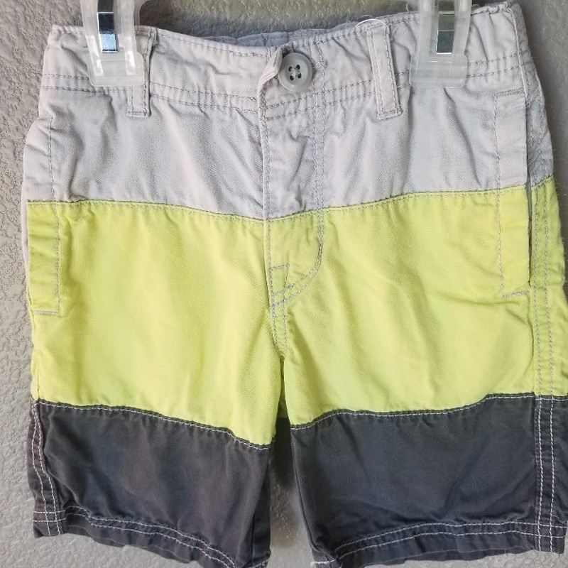Crazy 8 Colorblock Shorts, Size: 4<br /> Adjustable inner waist<br /> Gray, neon yellow, dark gray<br /> Four pockets