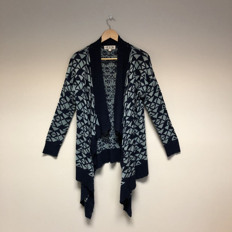 Pink Rose Open Knit Cardigan<br /> Size L<br /> Navy/Green<br /> $12.50