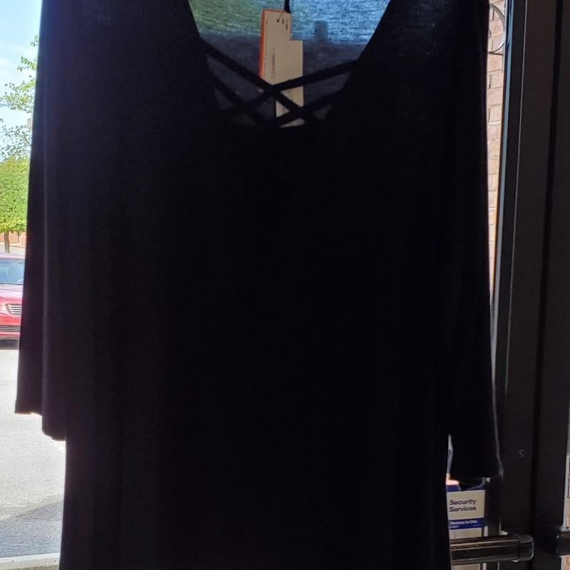 Westbound NWT, Black, Size: 2X, criss-cross vneck, Retail $49.00
