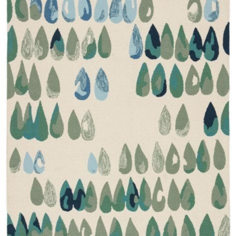 Durable in construction and playful in style; this indoor or outdoor area rug boasts a combination of surprising texture and whimsical design. This hand-hooked floor covering showcases cool-toned droplets of water on a white backdrop; inspiring thoughts of cheery springtime rain showers.<br /> Free shipping within continental US. Samples available for check out at Sandalwood Shoppes in Leland; NC.