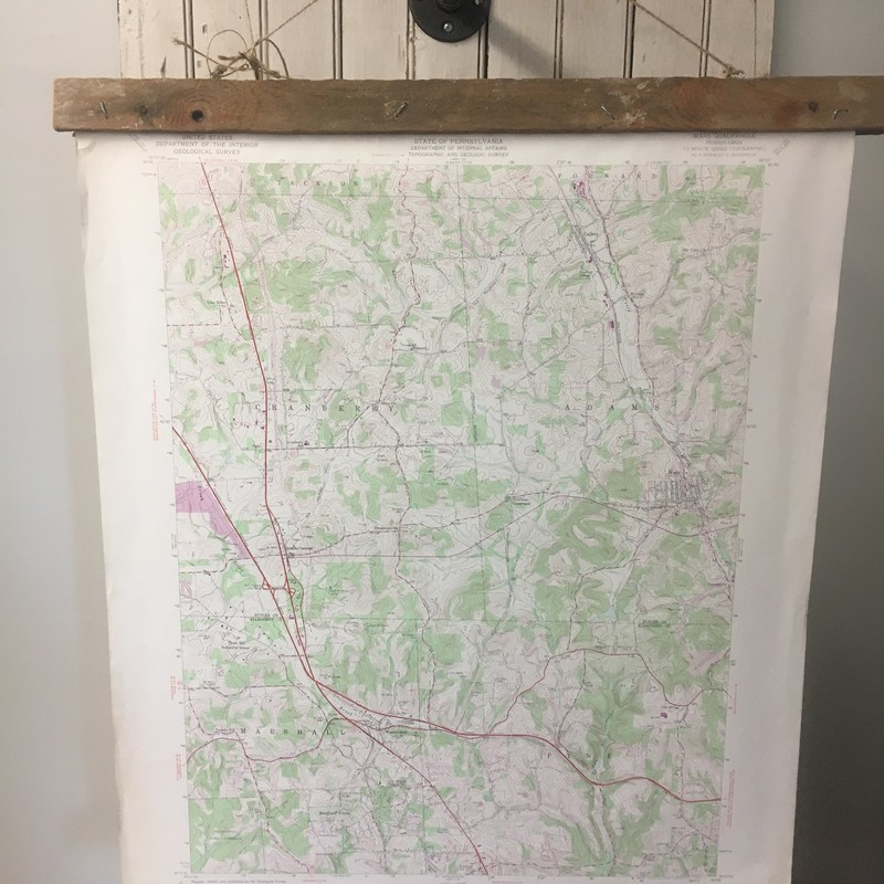 Cottage Revivals<br /> <br /> Vintage Topography Map hung with reclaimed barn wood. This 1969 map is Mars, PA area<br /> Other area maps are available.  Please email for info. Choose PICK UP IN STORE at Checkout!<br /> Email contactus@shopconsignmentcottage.com<br /> NOTE: 7% PA sales tax included in price of this item