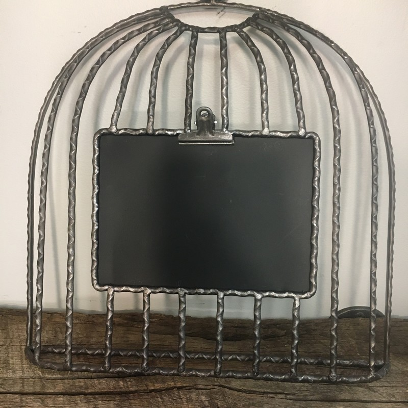 Blackboard With Clip, Metal, Size: 14 x 14, with inset blackboard 7 x 5. Would be cute in kitchen to hold recipe or write a note, or in living area to hold photo/ write notes!<br /> Choose PICK UP IN STORE at Checkout!<br /> Email contactus@shopconsignmentcottage.com PRIOR to buying  to obtain shipping cost if you prefer shipping.<br /> NOTE: 7% PA sales tax included in price of this item