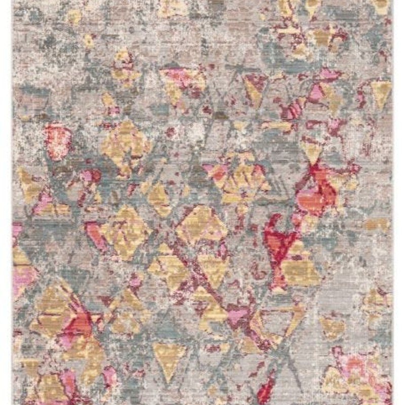 Vibrant and eye-catching; this power-loomed area rug offers a vivid design to living rooms and foyers. The geometric pattern of this multicolor accent features an artistically distressed look for a touch of patina-rich style. Free shipping within continental US. Samples available for check out at Sandalwood Shoppes in Leland NC.