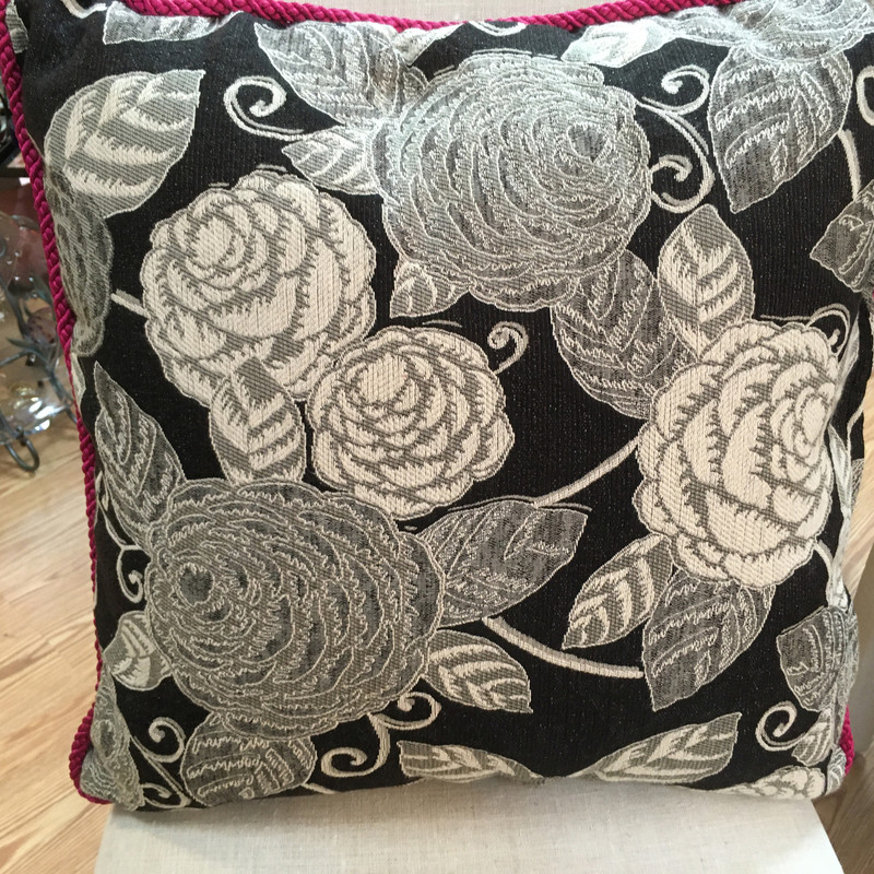 Item# 2000473<br /> Custom Made pillow with Black and cream  Floral and Pinkand Black braided cord<br /> Color - Black Cream Pink<br /> Price - 49.00